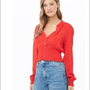 NWT forever 21 red dot smock top L